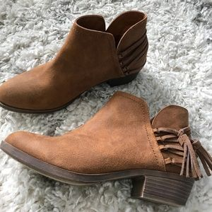 Shoes - Faux Suede brown ankle booties slight heel